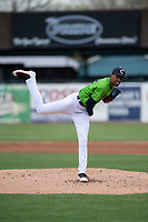 Kane County Cougars starting pitcher Justin Lewis (32) during a Midwest League game against the Cedar Rapids Kernels at Northwestern Medicine Field on April 28, 2019 in Geneva, Illinois. Cedar Rapids defeated Kane County 3-2 in game two of a doubleheader. (Zachary Lucy/Four Seam Images)