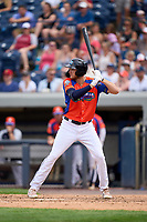 Las Calaveras de West Michigan Parker Meadows (17) bats during a game against the Fort Wayne TinCaps on August 22, 2021 at LMCU Ballpark in Comstock Park, Michigan.  (Mike Janes/Four Seam Images)