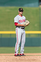 Salt River Rafters relief pitcher Ben Braymer (43), of the Washington Nationals organization, gets ready to deliver a pitch during an Arizona Fall League game against the Mesa Solar Sox at Sloan Park on October 30, 2018 in Mesa, Arizona. Salt River defeated Mesa 14-4 . (Zachary Lucy/Four Seam Images)