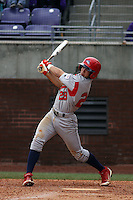 Stony Brook Seawolves infielder Cole Peragine #28 at bat during a game against the East Carolina University Pirates at Clark-LeClair Stadium  on March 4, 2012 in Greenville, NC.  East Carolina defeated Stony Brook 4-3. (Robert Gurganus/Four Seam Images)