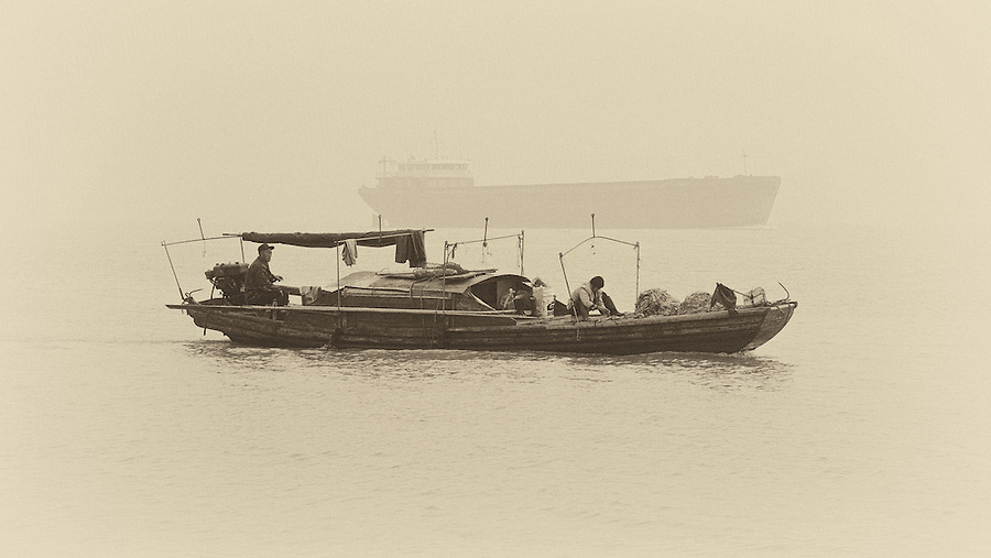 A Small Barge And A Larger Variant On The Yangtze River In Hankou, Wuhan.