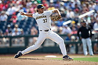 Michigan Wolverines pitcher Karl Kauffmann (37) delivers a pitch to the plate against the Texas Tech Red Raiders during the first game of the NCAA College World Series on June 15, 2019 at TD Ameritrade Park in Omaha, Nebraska. Michigan defeated Texas Tech 5-3. (Andrew Woolley/Four Seam Images)
