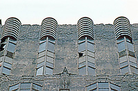 Los Angeles: Sunset Tower, detail, 1929-31. (Pigeon on man's head.) Photo '82.