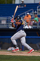 State College Spikes third baseman Ronnierd Garcia (40) at bat during a game against the Batavia Muckdogs August 23, 2015 at Dwyer Stadium in Batavia, New York.  State College defeated Batavia 8-2.  (Mike Janes/Four Seam Images)