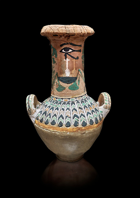 Ancient Egyptian  decorated jar sealed with linen , tomb of Kha, Theban Tomb 8 , mid-18th dynasty (1550 to 1292 BC), Turin Egyptian Museum.  Black background,<br /> <br /> TT8 or Theban Tomb 8 was the tomb of Kha, the overseer of works from Deir el-Medina in the mid-18th dynasty[2] and his wife, Merit. TT8 was one of the greatest archaeological discoveries of ancient Egypt, one of few tombs of nobility to survive intact.