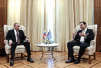 Pictured L-R: Vladimir Putin and Alexis Tsipras in Maximos Mansion Friday 27 May 2016<br /> Re: Russian President Vladimir Putin meets with Greek Prime Minister Alexis Tsipras at Maximou Mansion, Athens, Greece