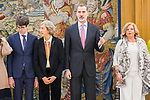 (L to r) Javier Ordonez, Ana Iribar, King Felipe VI of Spain and Consuelo ORdonez during the auddience of King Felipe VI with representation of Gregorio Ordonez Fenollar Foundation at Zarzuela Palace in Madrid. 20 January 2020. (Alterphotos/Francis González)
