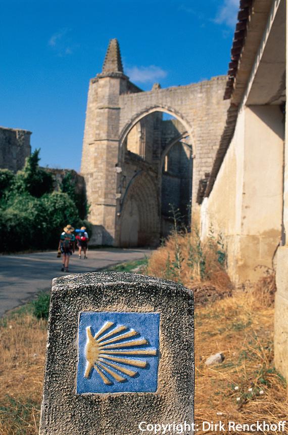 Klosterruine San Anton und Wegzeichen Jakobsweg bei Castrojeriz, Kastilien-León, Spanien