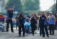 Jul, 10, 2011; Joliet, IL, USA: NHRA pro stock crew members for driver Erica Enders during the Route 66 Nationals at Route 66 Raceway. Mandatory Credit: Mark J. Rebilas-