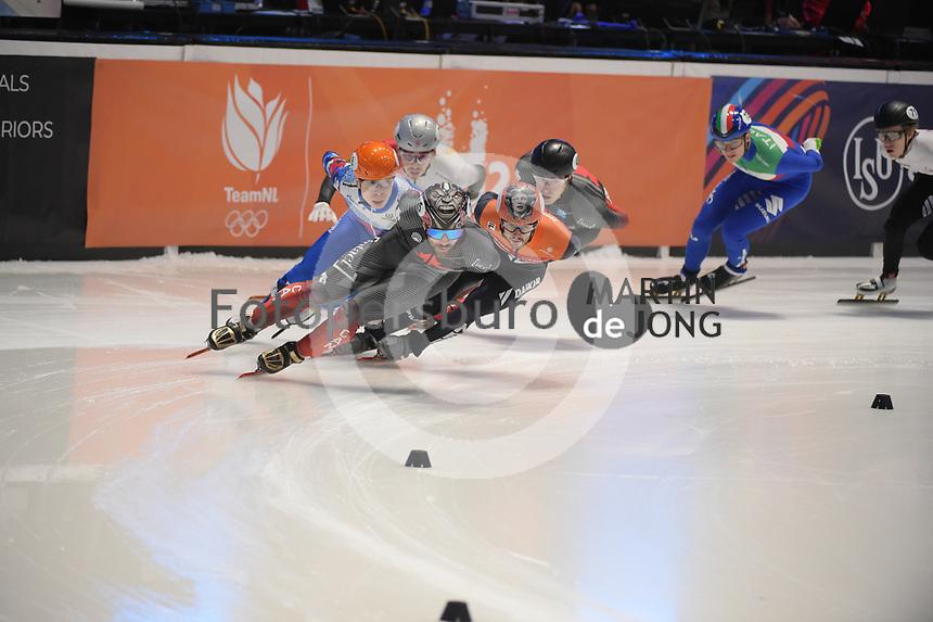 SPEEDSKATING: DORDRECHT: 06-03-2021, ISU World Short Track Speedskating Championships, Final A 1500m Men, Charles Hamelin (CAN), Itzhak de Laat (NED), Semen Elistratov (RSU), ©photo Martin de Jong