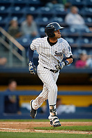 Scranton/Wilkes-Barre RailRiders right fielder Mason Williams (9) runs to first base during a game against the Pawtucket Red Sox on May 15, 2017 at PNC Field in Moosic, Pennsylvania.  Scranton defeated Pawtucket 8-4.  (Mike Janes/Four Seam Images)