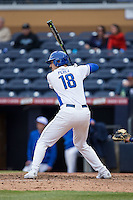 Cris Perez (18) of the Duke Blue Devils at bat against the California Golden Bears at Durham Bulls Athletic Park on February 20, 2016 in Durham, North Carolina.  The Blue Devils defeated the Golden Bears 6-5 in 10 innings.  (Brian Westerholt/Four Seam Images)