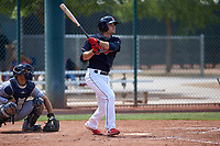 AZL Indians Blue Max Moroff (1) at bat in front of catcher Yainer Diaz (4) during a rehab assignment in an Arizona League game against the AZL Indians Red on July 7, 2019 at the Cleveland Indians Spring Training Complex in Goodyear, Arizona. The AZL Indians Blue defeated the AZL Indians Red 5-4. (Zachary Lucy/Four Seam Images)
