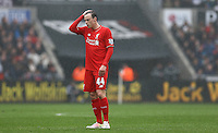 Brad Smith of Liverpool shows a look of dejection during the Barclays Premier League match between Swansea City and Liverpool played at the Liberty Stadium, Swansea on 1st May 2016