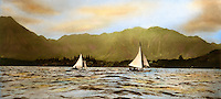 Historical yacht race in Kaneohe Bay, Hawaii