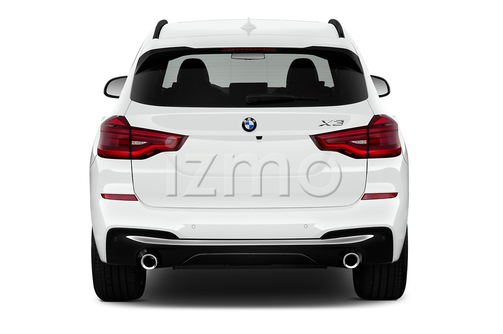 Straight rear view of 2018 BMW X3 M-Sport 5 Door SUV Rear View  stock images