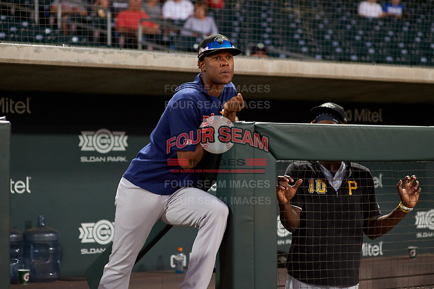 Peoria Javelinas pitcher Jojanse Torres (29), of the Houston Astros organization, during an Arizona Fall League game against the Mesa Solar Sox on September 21, 2019 at Sloan Park in Mesa, Arizona. Mesa defeated Peoria 4-1. (Zachary Lucy/Four Seam Images)