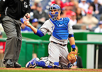 24 April 2010: Los Angeles Dodgers' catcher Russell Martin in action against the Washington Nationals at Nationals Park in Washington, DC. The Dodgers edged out the Nationals 4-3 in a thirteen inning game. Mandatory Credit: Ed Wolfstein Photo