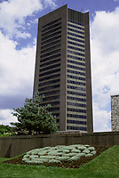 File Photo, Montreal, Quebec, Canada<br /> <br /> Radio Canada / CBC Montreal's headquarters on Rene-Levesque street<br /> <br /> <br /> Mandatory Credit: Photo by Pierre Roussel- Images Distribution. (©) Copyright<br />  by Pierre Roussel <br /> <br /> NOTE : <br /> scanned 35 mm neg, saved as  in Adobe 1998 RGB coor space. Contact us if you need a higher res. file