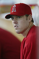 John Lackey of the Los Angeles Angels during a 2002 MLB season game at Angel Stadium, in Anaheim, California. (Larry Goren/Four Seam Images)