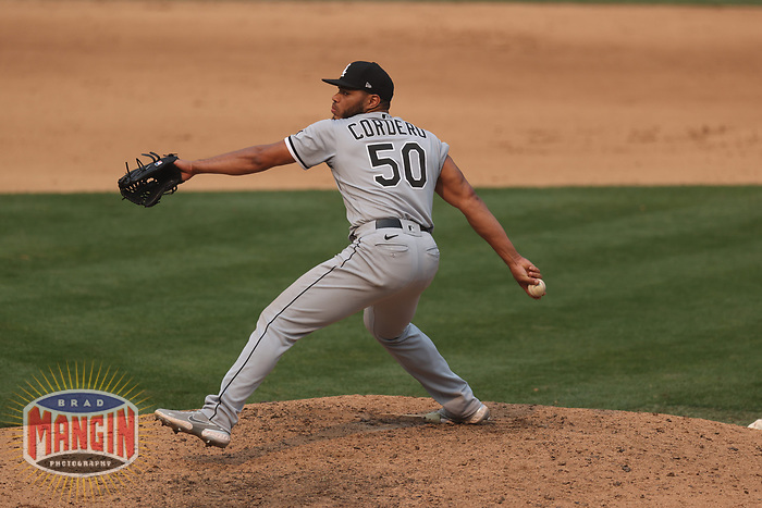 OAKLAND, CA - OCTOBER 1:  Jimmy Cordero #50 of the Chicago White Sox pitches against the Oakland Athletics during Wild Card Round Game Three at the Oakland Coliseum on Thursday, October 1, 2020 in Oakland, California. (Photo by Brad Mangin)