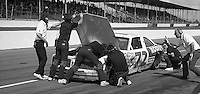 Rusty Wallace makes a pit stop during the Busch Series race at Darlington Raceway in Darlington, SC on March 19, 1988. (Photo by Brian Cleary/www.bcpix.com)
