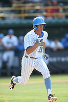 Luke Persico (21) of the UCLA Bruins runs to first base during a game against the Arizona Wildcats at Jackie Robinson Stadium on May 16, 2015 in Los Angeles, California. UCLA defeated Arizona, 6-0. (Larry Goren/Four Seam Images)