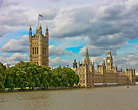 Thames River view of the Palace of Westminster in London