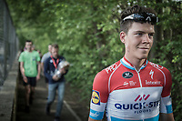 race winner Bob Jungels (LUX/Quick-Step Floors) on his way to the post-race press-conference<br /> <br /> 104th Liège - Bastogne - Liège 2018 (1.UWT)<br /> 1 Day Race: Liège - Ans (258km)