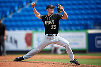 Army West Point relief pitcher Matt Gray (25) delivers a pitch during a game against the Michigan Wolverines on February 18, 2018 at First Data Field in St. Lucie, Florida.  Michigan defeated Army 7-3.  (Mike Janes/Four Seam Images)