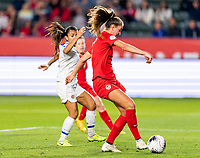 CARSON, CA - FEBRUARY 07: Jordyn Huitema #9 of Canada scores during a game between Canada and Costa Rica at Dignity Health Sports Park on February 07, 2020 in Carson, California.