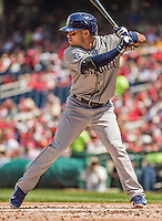 26 April 2014: San Diego Padres outfielder Alexi Amarista in action against the Washington Nationals at Nationals Park in Washington, DC. The Nationals defeated the Padres 4-0 to take the third game of their 4-game series. Mandatory Credit: Ed Wolfstein Photo *** RAW (NEF) Image File Available ***