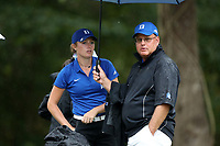 CHAPEL HILL, NC - OCTOBER 13: Head coach Dan Brooks and Megan Furtney of Duke University at UNC Finley Golf Course on October 13, 2019 in Chapel Hill, North Carolina.