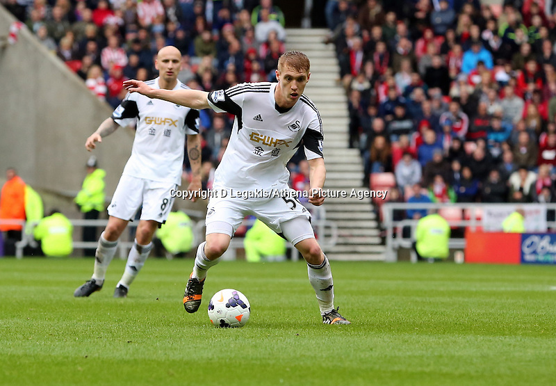 Pictured: Jay Fulton of Swansea making his first away appearance. Sunday 11 May 2014<br /> Re: Barclay's Premier League, Sunderland v Swansea City FC at the Stadium of Light, Sunderland, UK.