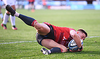 5th September 2020; Kingsholm Stadium, Gloucester, Gloucestershire, England; English Premiership Rugby, Gloucester versus London Irish; Stephen Varney of Gloucester dives over the line to score a try