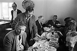 Laxton Jury Day and Court Leet. Laxton Nottinghamshire. England 1973.   Traditional Farmers Dinner in the Dovecote Inn   <br /> <br /> <br /> Laxton is the only place in England where the open-field system continues to be used.  It is thought that its anomalous survival is due to the inability of two early 19th century landowners to agree on how the land was to be enclosed, thus resulting in the perpetuation of the existing system.<br /> <br /> <br /> My ref 33/669/1973