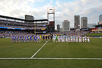 Both teams line up prior to start of the game..Manchester City defeated Chelsea 4-3 in an international friendly at Busch Stadium, St Louis, Missouri.