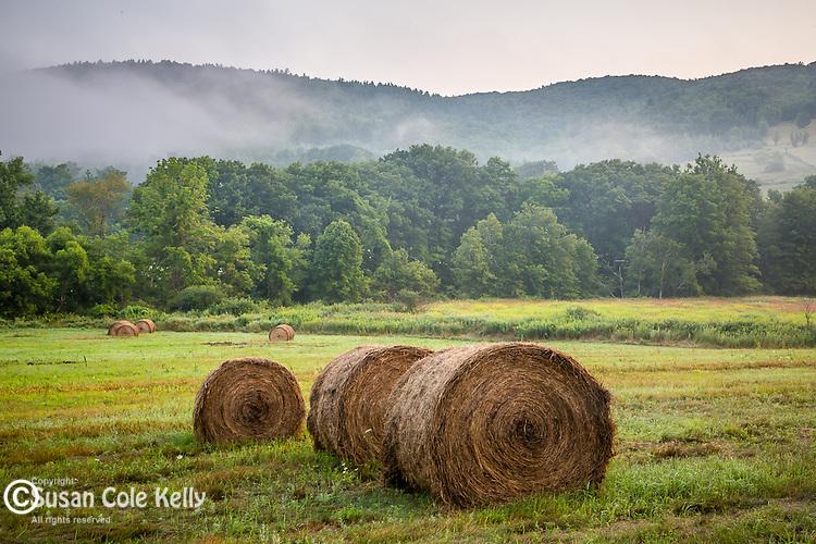Hay bales at the Battenkill Farm in Arlington, Vermont, USA