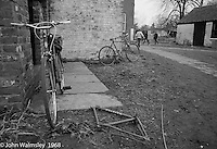 Bikes behing the carpentry block, Summerhill school, Leiston, Suffolk, UK. 1968.