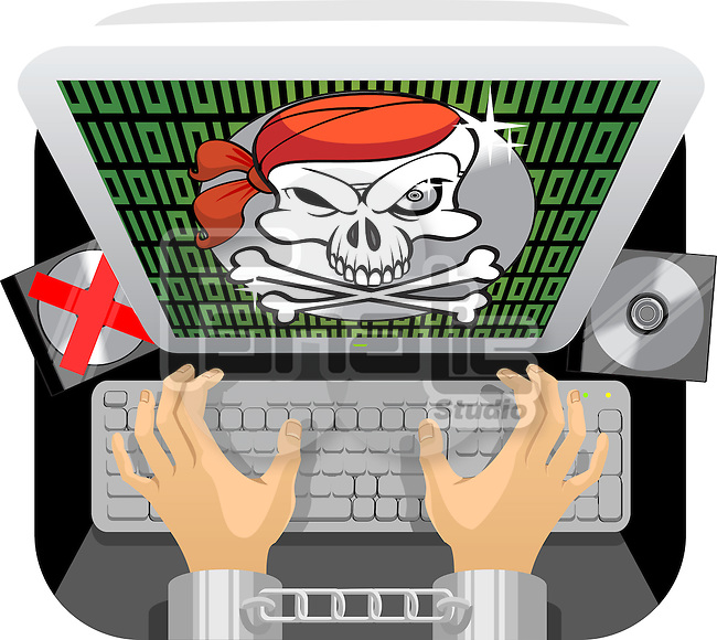 Handcuffed person's hand using a keyboard with anti piracy message flashed on the computer screen
