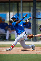 Toronto Blue Jays right fielder Amell Brazoban (70) follows through on a swing during a Florida Instructional League game against the Pittsburgh Pirates on September 20, 2018 at the Englebert Complex in Dunedin, Florida.  (Mike Janes/Four Seam Images)