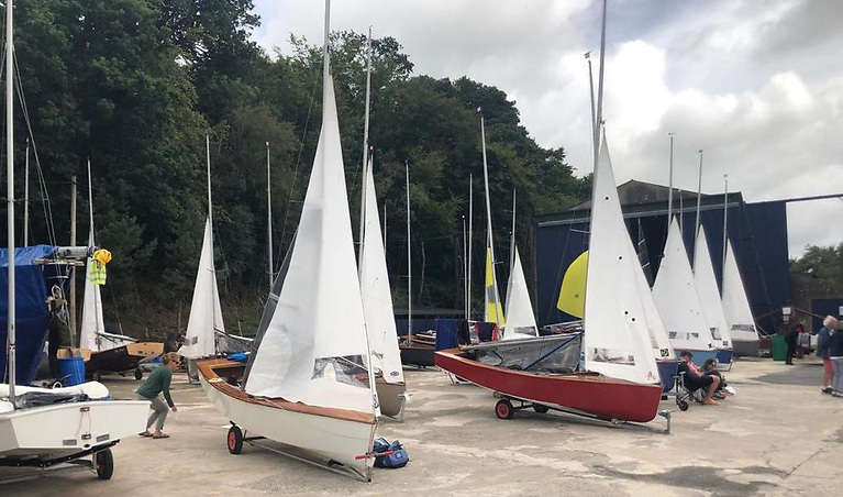 GP14s wait for wind ashore at Lough Erne Yacht Club on day two of the Irish Championships at Lough Erne Yacht Club