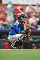 Hartford Yard Goats catcher Jan Vazquez (6) during a game against the Erie SeaWolves on August 6, 2017 at UPMC Park in Erie, Pennsylvania.  Erie defeated Hartford 9-5.  (Mike Janes/Four Seam Images)