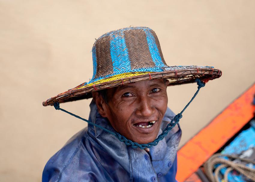 A boatman on the Yangon River, Yangon river site, Myanmar