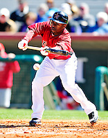 4 March 2010: Houston Astros center fielder Michael Bourn lays down a bunt during the Astros' Grapefruit League Opening Day game against a Washington Nationals' split squad at Osceola County Stadium in Kissimmee, Florida. The Astros defeated the Nationals 15-5 in Spring Training action. Mandatory Credit: Ed Wolfstein Photo