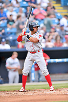 Lakewood BlueClaws catcher Edgar Cabral (30) awaits a pitch during a game against the Beer City Tourists at McCormick Field on June 1, 2017 in Asheville, North Carolina. The Tourists defeated the BlueClaws 8-5. (Tony Farlow/Four Seam Images)