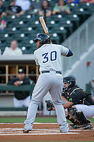 Jesus Aguilar (30) of the Columbus Clippers at bat against the Charlotte Knights at BB&T BallPark on May 3, 2016 in Charlotte, North Carolina.  The Clippers defeated the Knights 8-3.  (Brian Westerholt/Four Seam Images)