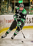 24 October 2015: University of North Dakota Defenseman Keaton Thompson, a Junior from Devils Lake, ND, in second period action against the University of Vermont Catamounts at Gutterson Fieldhouse in Burlington, Vermont. North Dakota defeated the Catamounts 5-2 in the second game of their weekend series. Mandatory Credit: Ed Wolfstein Photo *** RAW (NEF) Image File Available ***