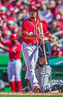 6 April 2014: Washington Nationals infielder Anthony Rendon in action against the Atlanta Braves at Nationals Park in Washington, DC. The Nationals defeated the Braves 2-1 to salvage the last game of their 3-game series. Mandatory Credit: Ed Wolfstein Photo *** RAW (NEF) Image File Available ***