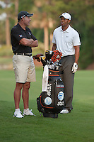 PONTE VEDRA BEACH, FL - MAY 6: Tiger Woods and caddie Steve Williams wait on the 10th fairway during Tiger's practice round on Wednesday, May 6, 2009 for the Players Championship, beginning on Thursday, at TPC Sawgrass in Ponte Vedra Beach, Florida.